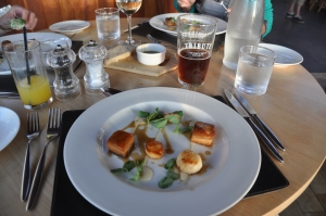Scallops! Pork belly! Shallot puree! Madeira jus! On a plate!